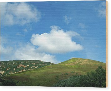 Cloud Over Hills In Spring Wood Print by Kathy Yates