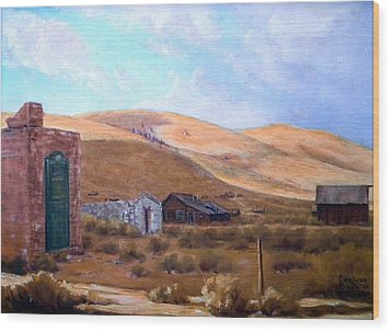Cloud Shadows Over Bodie California Wood Print by Evelyne Boynton Grierson