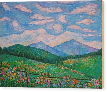 Cloud Swirl Over The Peaks Of Otter Wood Print by Kendall Kessler