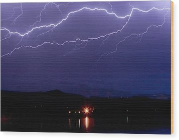 Cloud To Cloud Horizontal Lightning Wood Print by James BO  Insogna