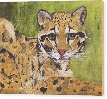 Wood Print featuring the painting Clouded Cat by Jamie Frier