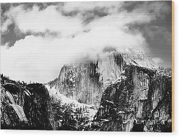 Clouded Half Dome Wood Print by Charmian Vistaunet