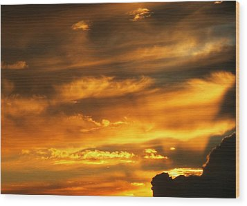 Clouded Sunset Wood Print by Kyle West