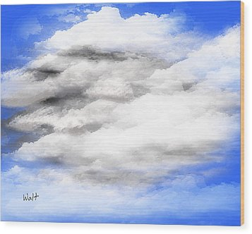 Wood Print featuring the digital art Clouds 2 by Walter Chamberlain