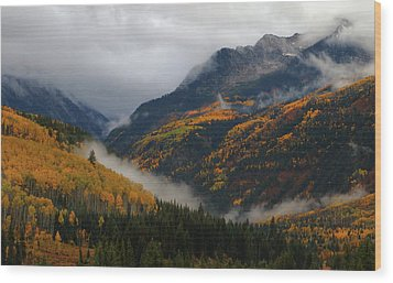 Wood Print featuring the photograph Clouds And Fog Encompass Autumn At Mcclure Pass In Colorado by Jetson Nguyen