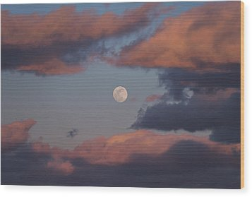 Wood Print featuring the photograph Clouds And Moon March 2017 by Terry DeLuco