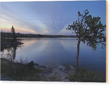 Clouds At Sunset On Seagull Lake Wood Print by Larry Ricker
