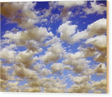 Clouds Blue Sky Wood Print