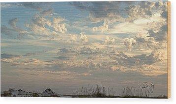 Clouds Gulf Islands National Seashore Florida Wood Print by Paul Gaj
