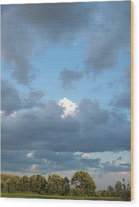 Clouds In A Bright Sky Wood Print