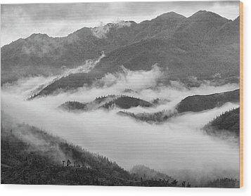 Wood Print featuring the photograph Clouds In Valley, Sa Pa, 2014 by Hitendra SINKAR
