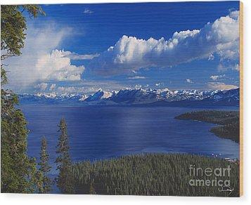 Clouds Over Lake Tahoe Wood Print by Vance Fox