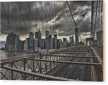 Clouds Over Manhattan Wood Print by Andreas Freund