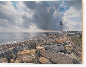 Clouds Over Old Scituate Light Wood Print by Brian MacLean