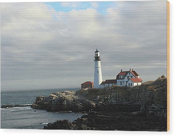 Clouds Over Portland Head Lighthouse 2 Wood Print