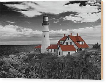 Clouds Over Portland Head Lighthouse 3 - Bw Wood Print