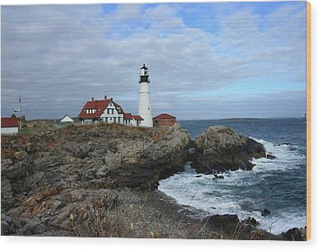 Clouds Over Portland Head Lighthouse Wood Print