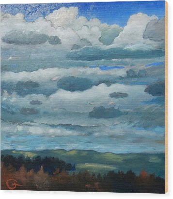 Wood Print featuring the painting Clouds Over South Bay by Gary Coleman