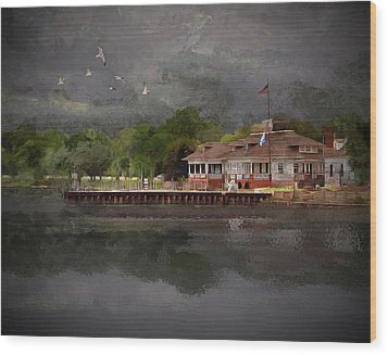 Clouds Over The Harbor Wood Print