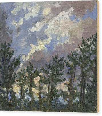 Clouds Over The Pines Tanglewood Wood Print by Thor Wickstrom