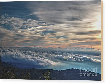 Wood Print featuring the photograph Clouds Over The Smoky's by Douglas Stucky