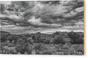 Clouds Over The Superstitions Wood Print by Monte Stevens