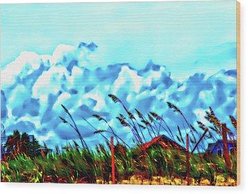 Clouds Over Vilano Beach Wood Print