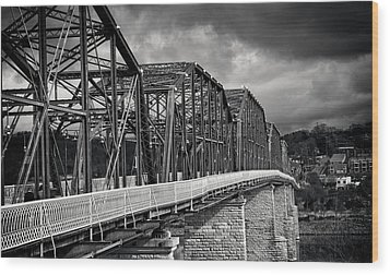 Wood Print featuring the photograph Clouds Over Walnut Street Bridge In Black And White by Greg Mimbs