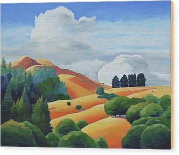 Clouds Over Windy Hill Wood Print by Gary Coleman