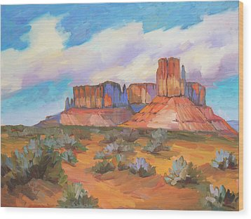 Wood Print featuring the painting Clouds Passing Monument Valley by Diane McClary