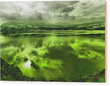 Wood Print featuring the photograph Clouds Reflecting Off The Columbia  by Jeff Swan