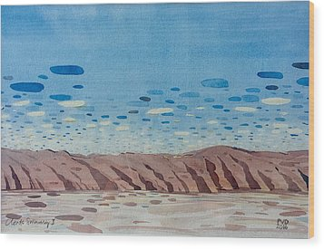 Clouds Swimming Wood Print by Vaughan Davies