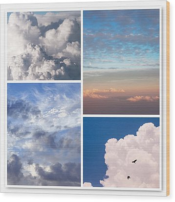 Wood Print featuring the photograph Cloudscapes Collage by Jenny Rainbow