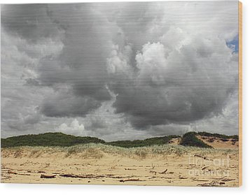 Wood Print featuring the photograph Cloudy Beach II By Kaye Menner by Kaye Menner