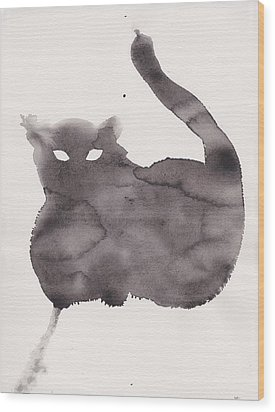 Wood Print featuring the painting Cloudy Cat by Marc Philippe Joly