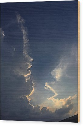 Cloudy Conversation Wood Print by Audrey Robillard