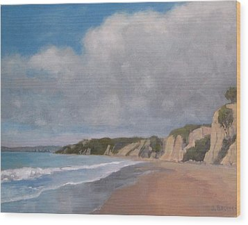 Cloudy Day At Summerland Beach Wood Print