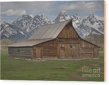 Cloudy Day At The Moulton Barn Wood Print by Adam Jewell