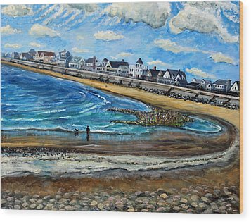 Wood Print featuring the painting Cloudy Day In Green Harbor  by Rita Brown