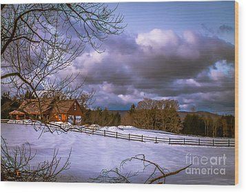 Cloudy Day In Vermont Wood Print
