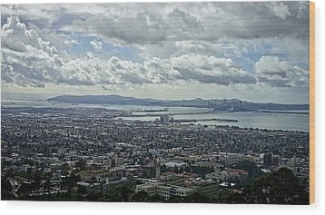 Cloudy Day Over The Bay Wood Print by Lennie Green