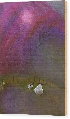Wood Print featuring the digital art Cloudy Day Sheep by Jean Moore