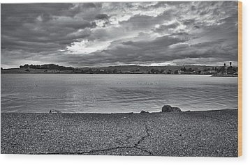 Cloudy East Bay Hills From The Bay Wood Print by Lennie Green