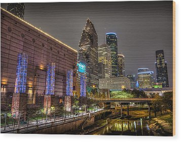 Wood Print featuring the photograph Cloudy Night In Houston by David Morefield