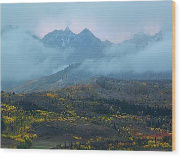 Cloudy Peaks Wood Print by Aaron Spong