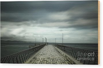 Wood Print featuring the photograph Cloudy Pier by Perry Webster