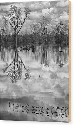 Cloudy Reflection Wood Print
