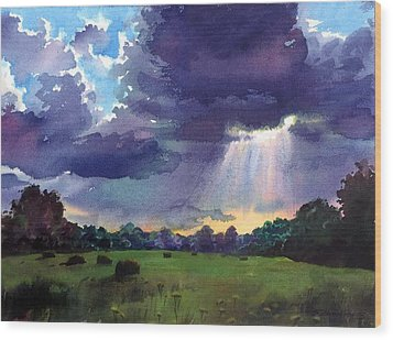 Cloudy Sky Wood Print by Sergey Zhiboedov