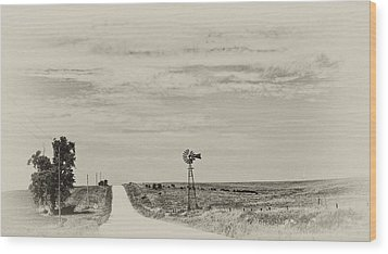 Cloudy Skys And Dirt Roads Wood Print by Wilma  Birdwell