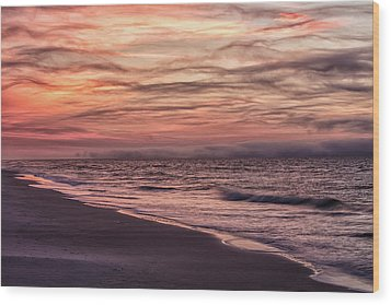 Wood Print featuring the photograph Cloudy Sunrise At The Beach by John McGraw